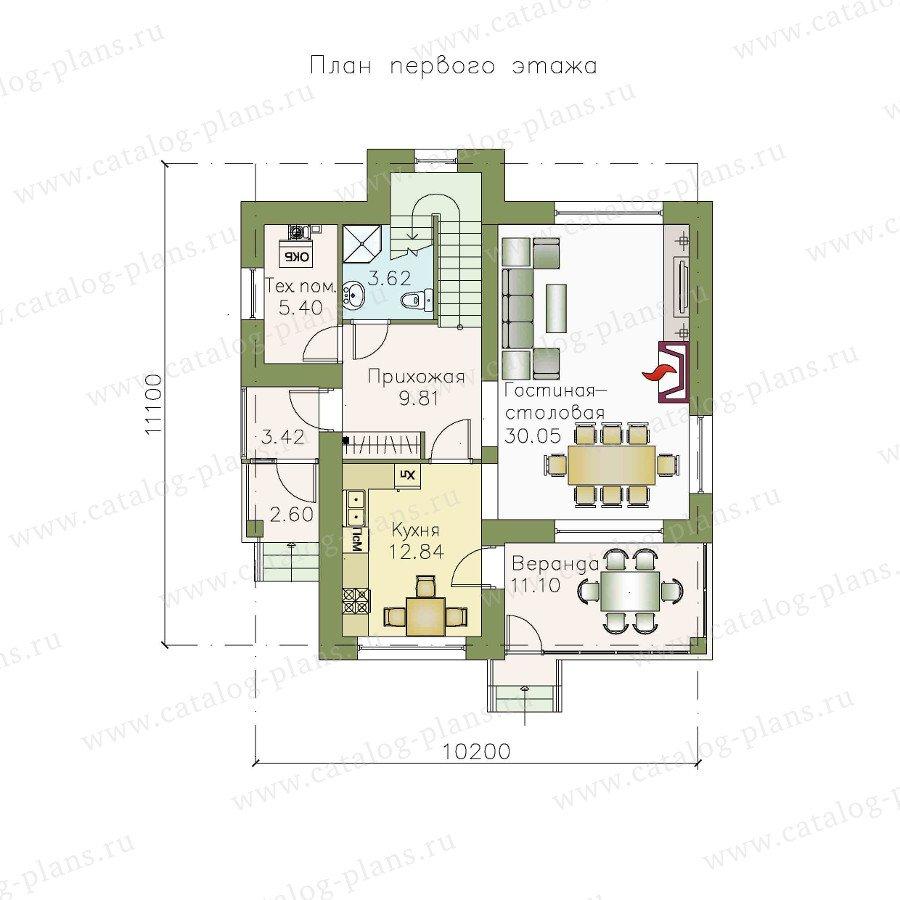 План 1-этажа проекта 48-03