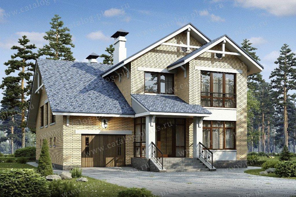 Проект жилой дом #48-00 материал - кирпич, стиль европейский