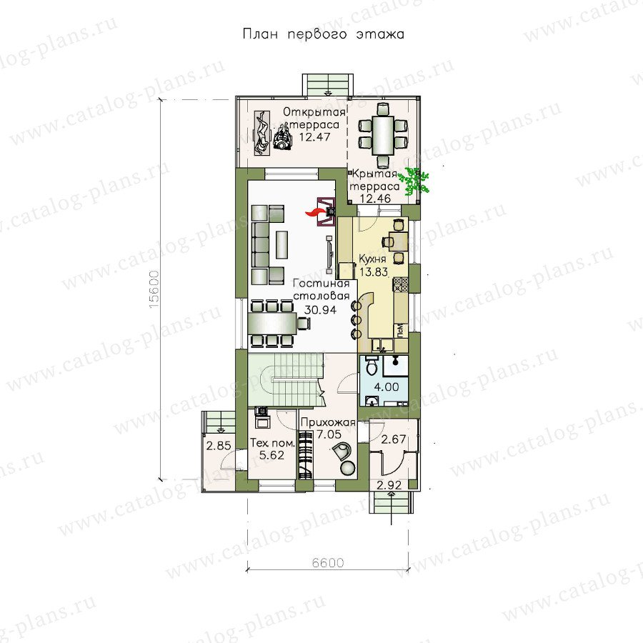 План 1-этажа проекта 48-05