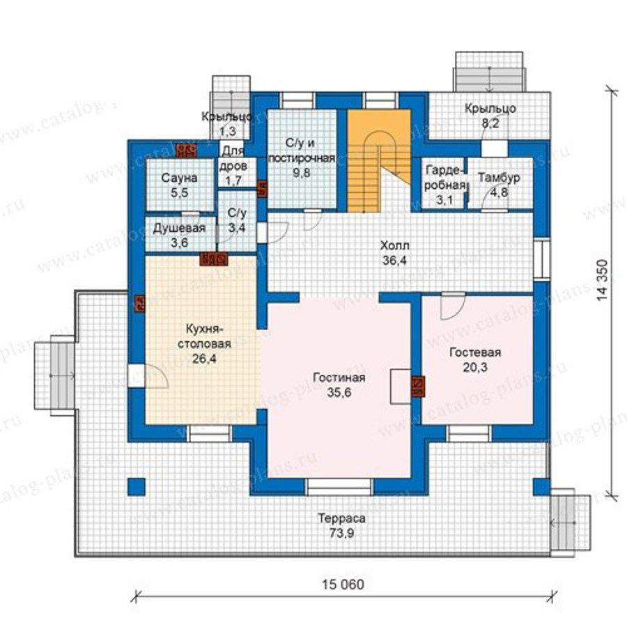 План 1-этажа проекта 48-23