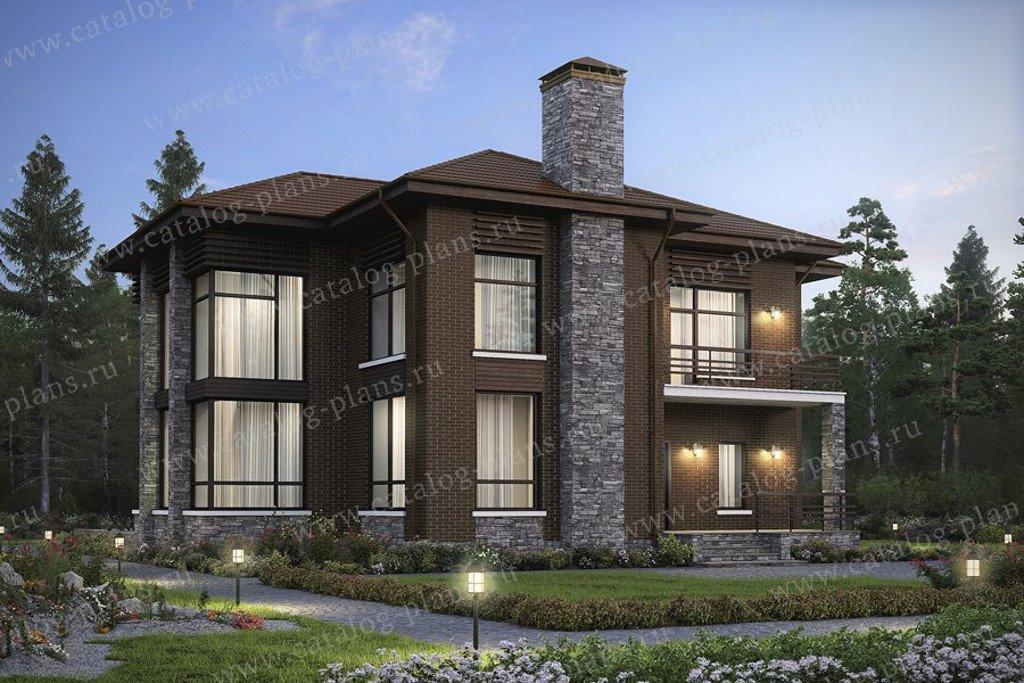 Проект жилой дом #48-24L материал - кирпич, стиль современный