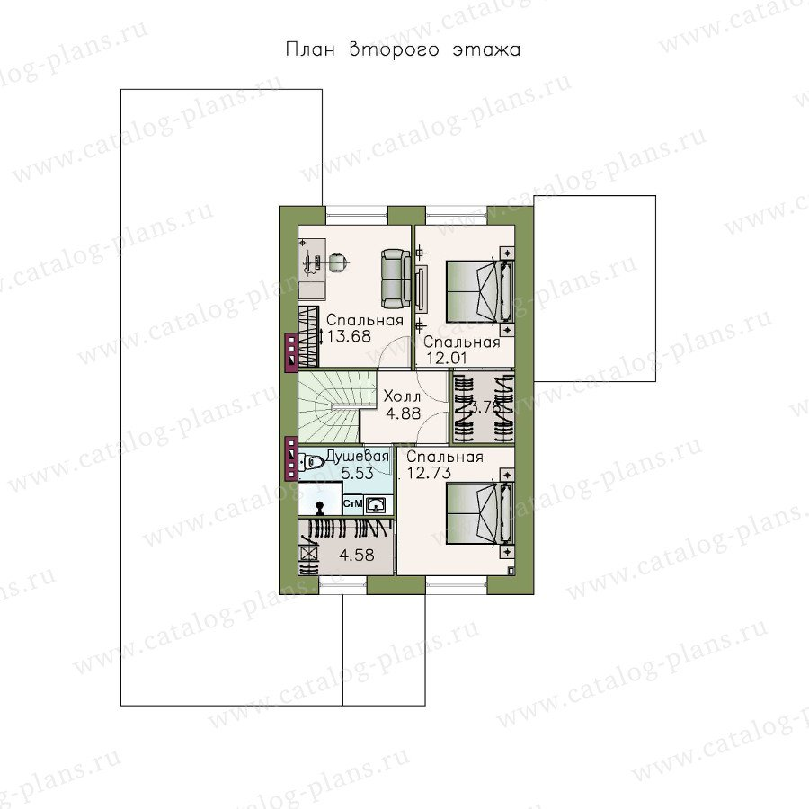 План 2-этажа проекта 48-12
