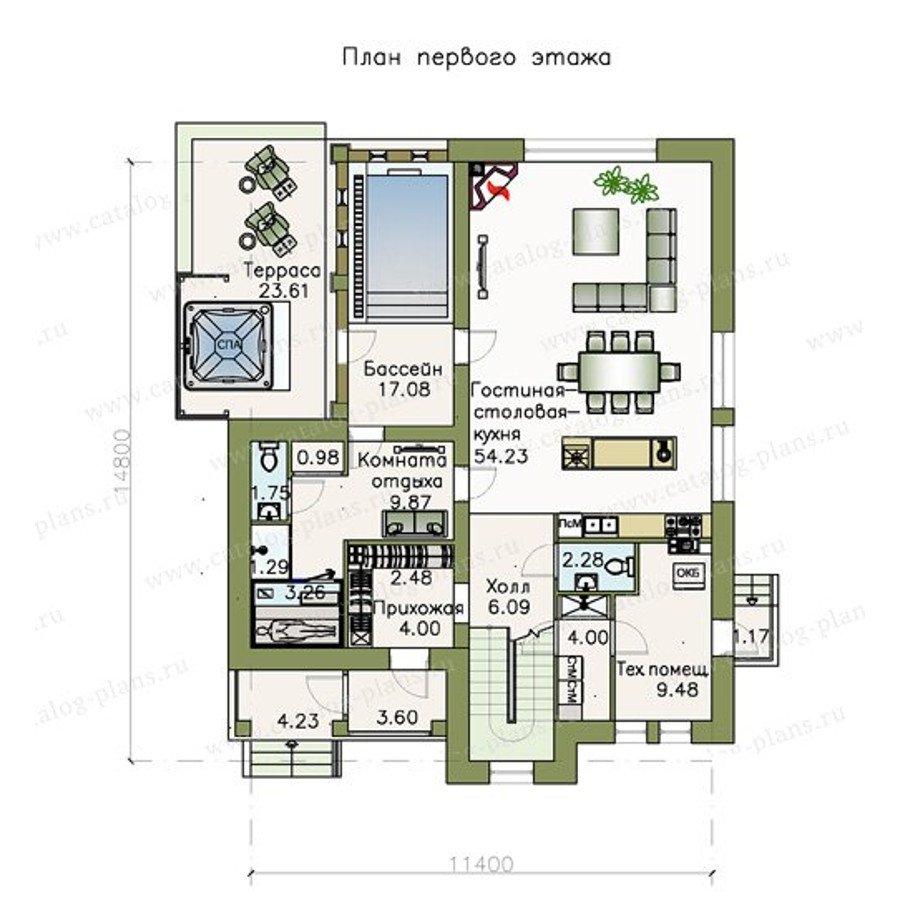 План 1-этажа проекта 48-09