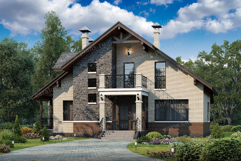 Проект жилой дом #48-15 материал - кирпич, стиль современный