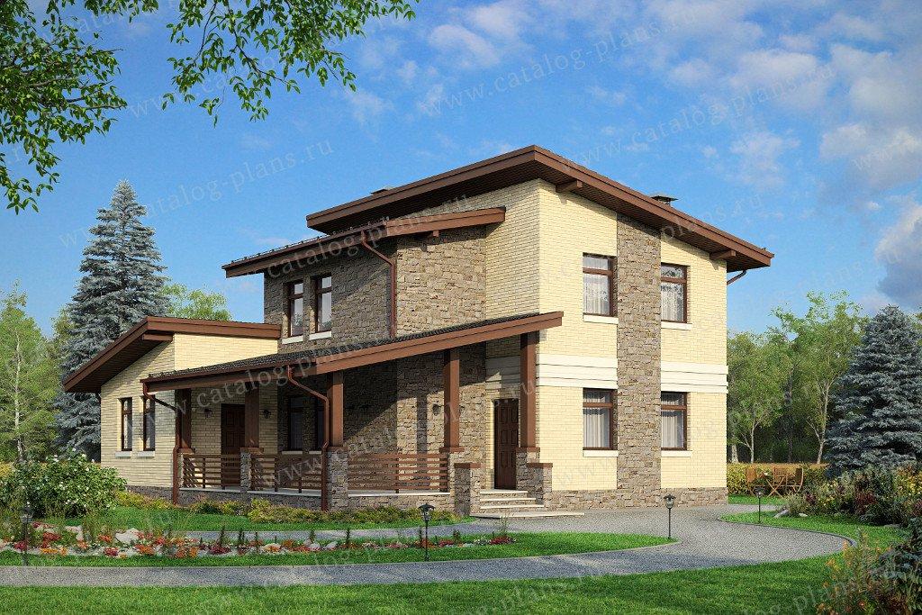 Проект жилой дом #48-20B материал - кирпич, стиль современный
