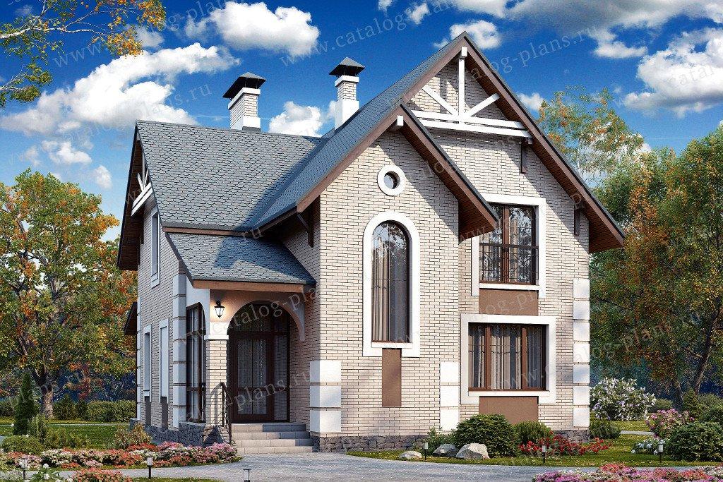Проект жилой дом #48-17 материал - кирпич, стиль современный