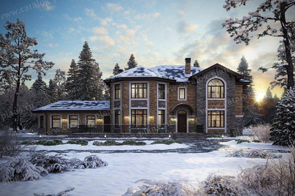 Проект жилой дом #48-29L материал - кирпич, стиль европейский