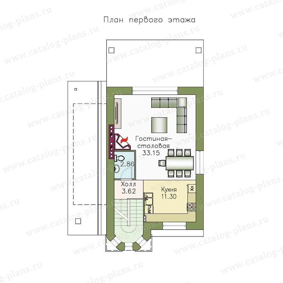 План 2-этажа проекта 48-14