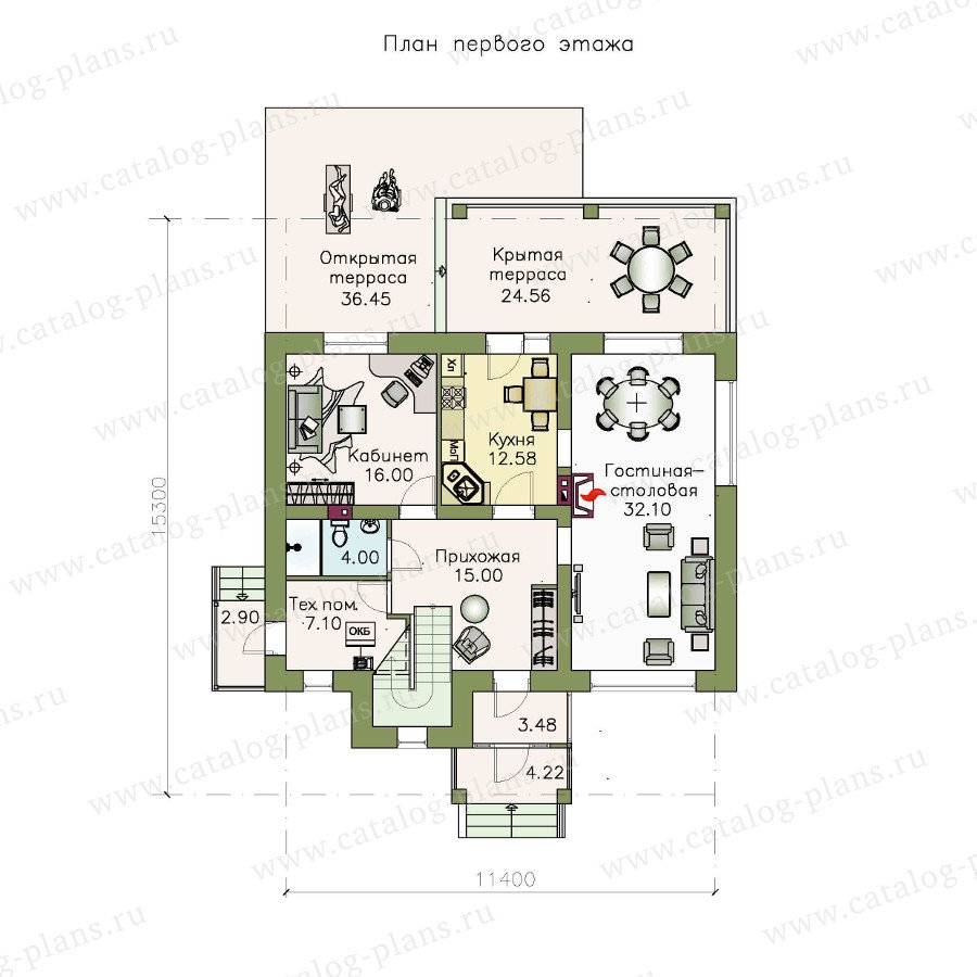 План 1-этажа проекта 48-15