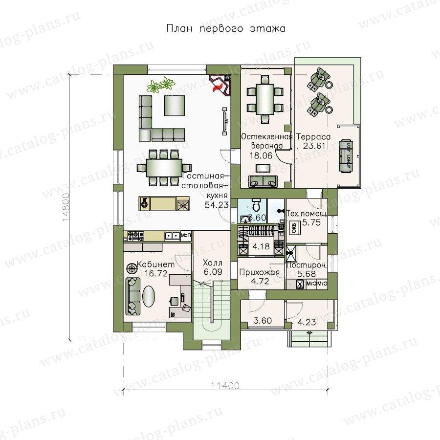 План 1-этажа проекта 48-10