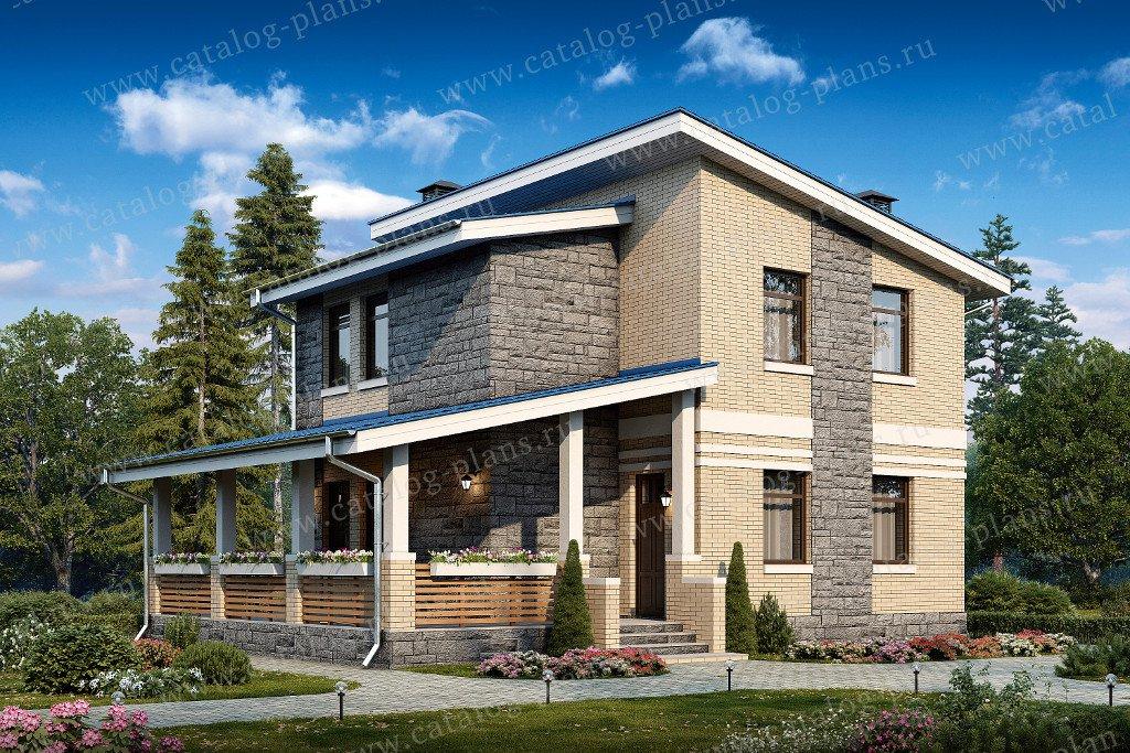 Проект жилой дом #48-20 материал - кирпич, стиль современный