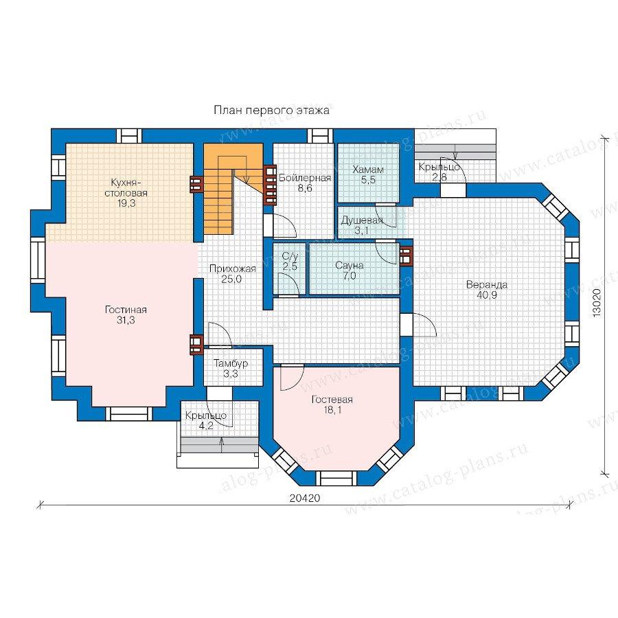План 1-этажа проекта 48-29B