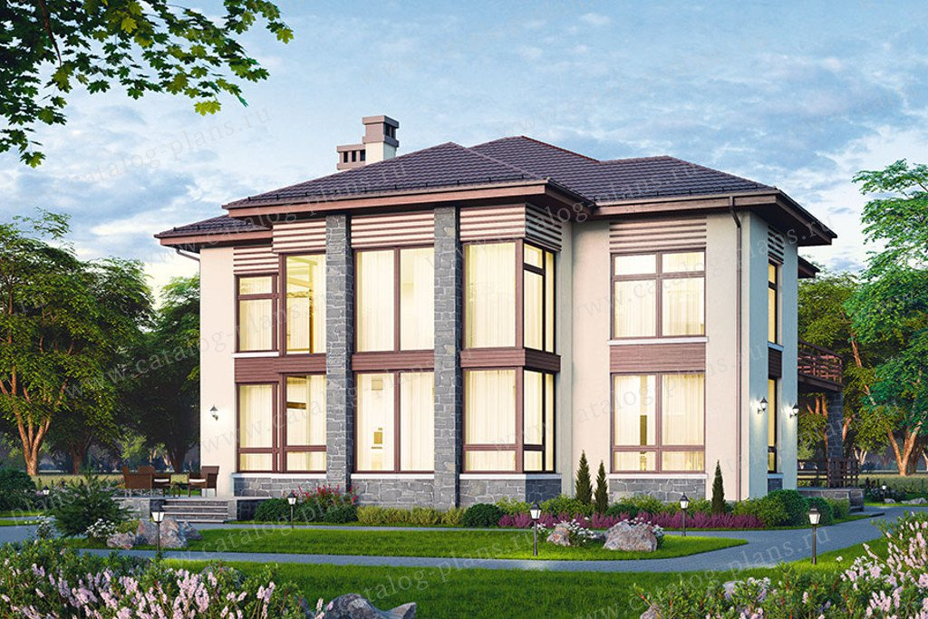 Проект жилой дом #48-24AG материал - газобетон, стиль современный