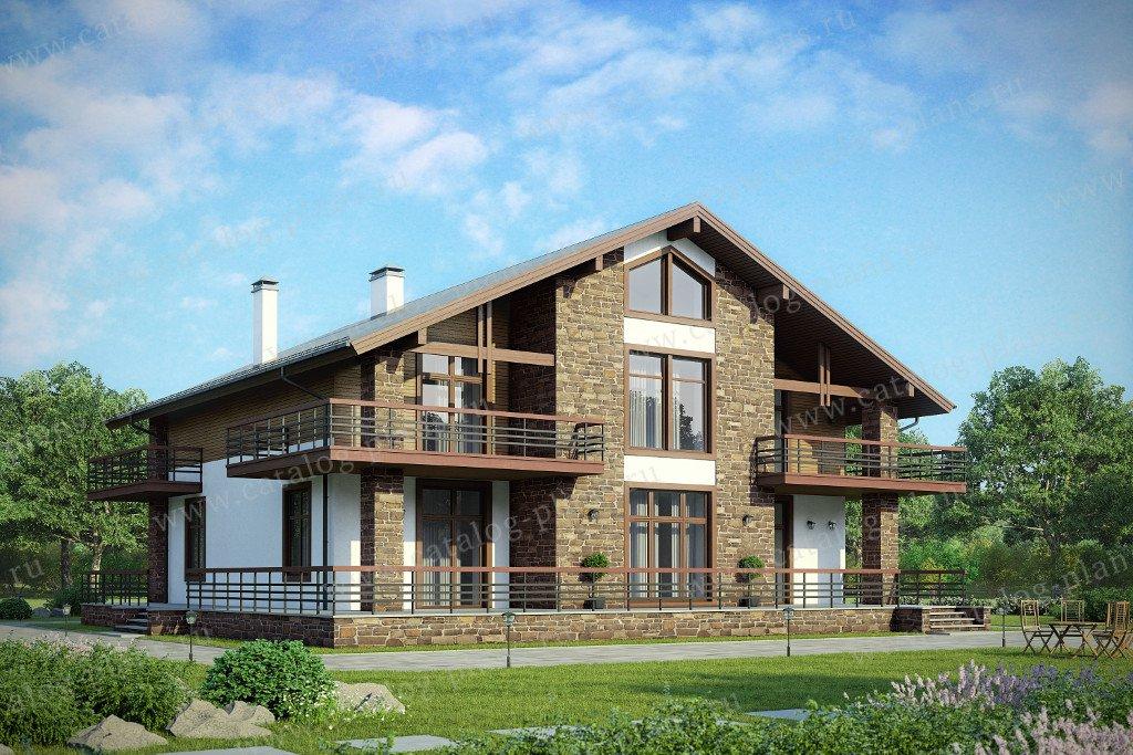 Проект жилой дом #48-23A материал - кирпич, стиль шале