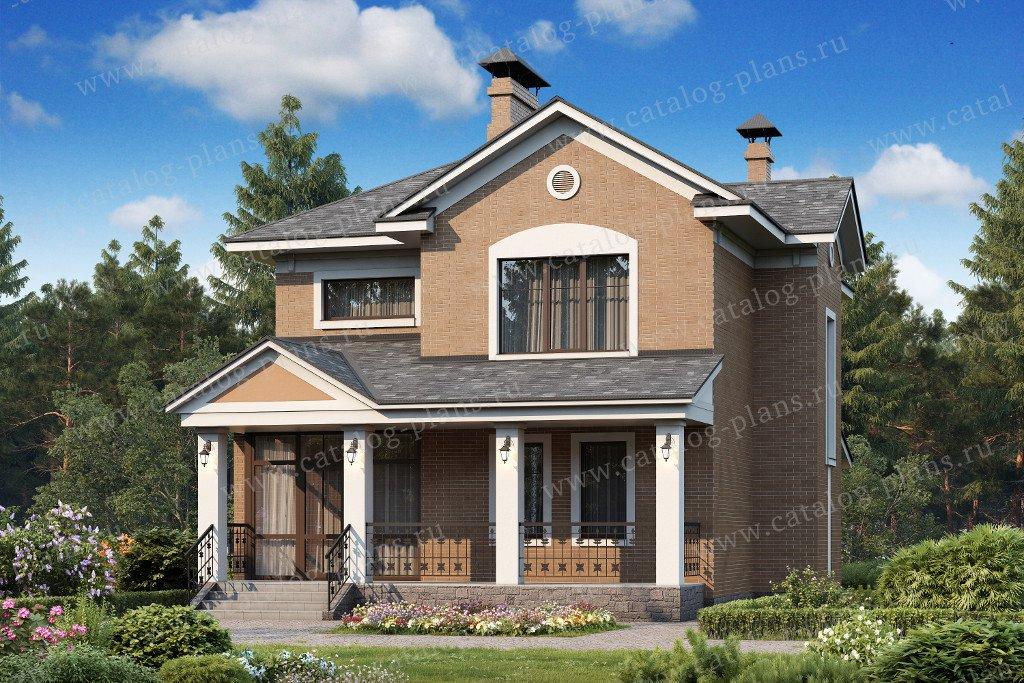 Проект жилой дом #47-01 материал - кирпич, стиль американский