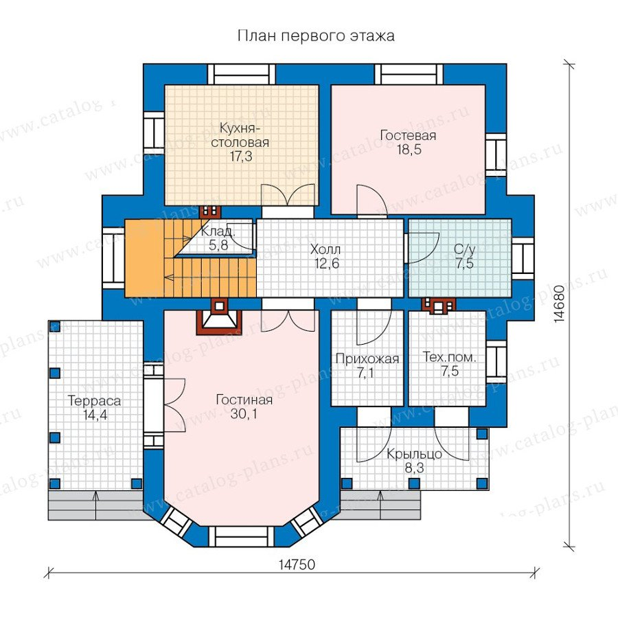 План 1-этажа проекта 47-28