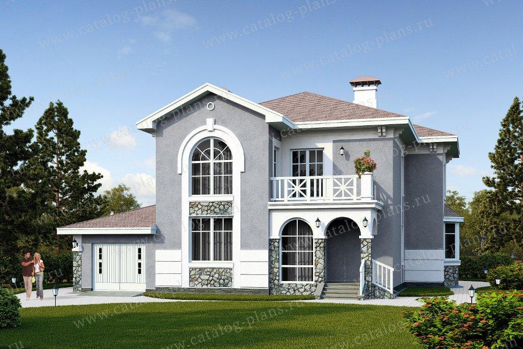 Проект жилой дом #47-08 материал - кирпич, стиль средиземный