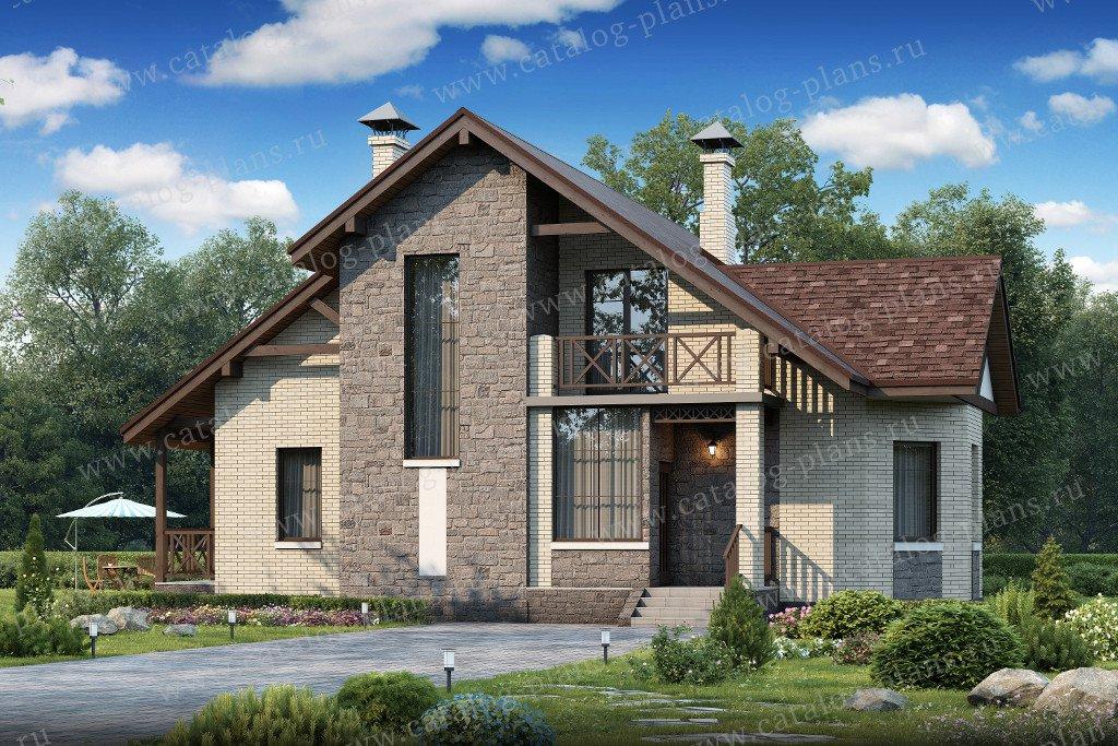 Проект жилой дом #47-00 материал - кирпич, стиль скандинавский