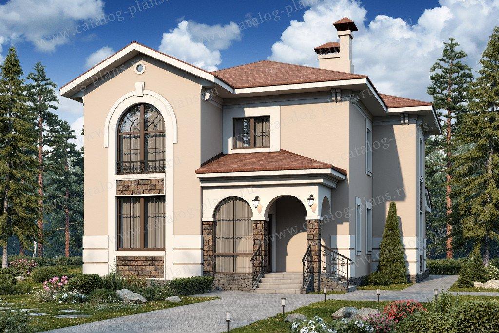 Проект жилой дом #47-02 материал - кирпич, стиль европейский