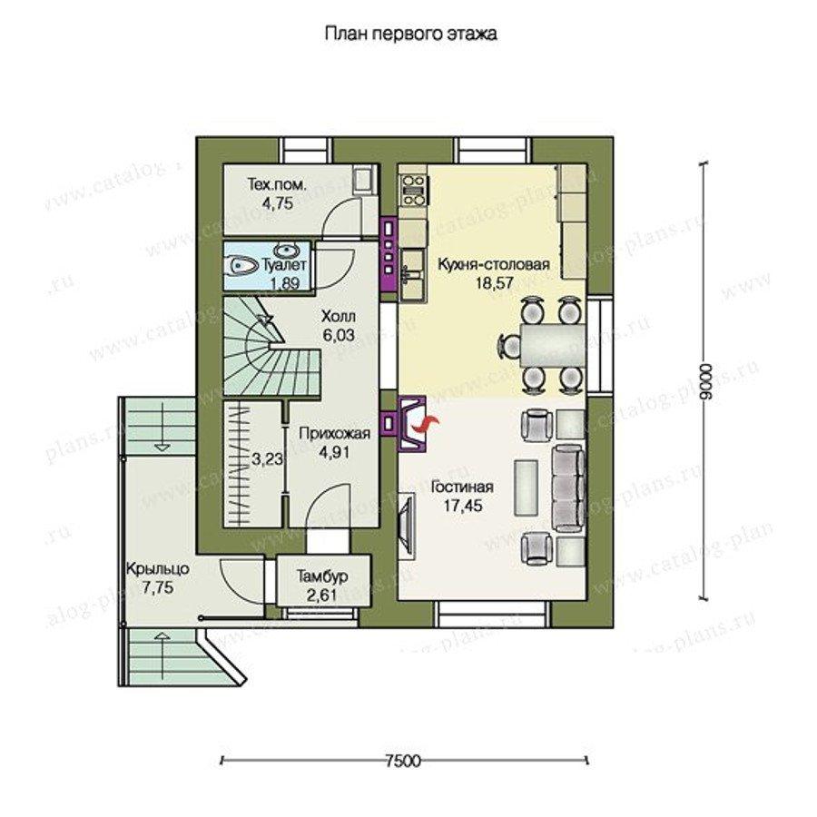 План 1-этажа проекта 47-21