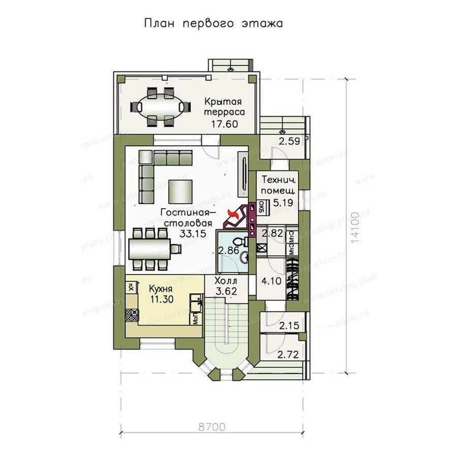 План 1-этажа проекта 47-24