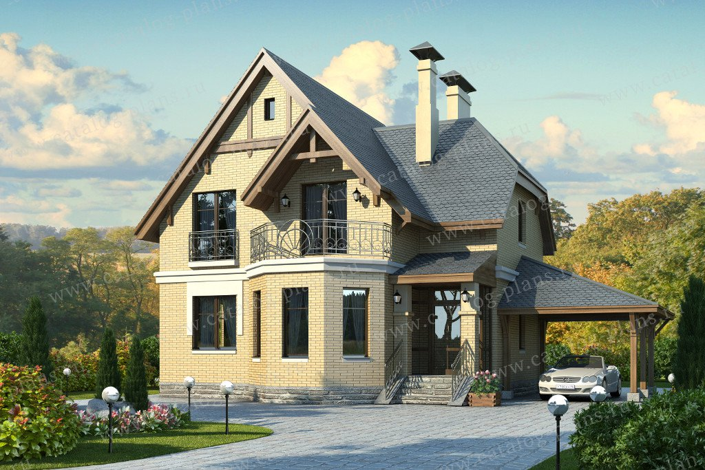 Проект жилой дом #47-20 материал - кирпич, стиль немецкий