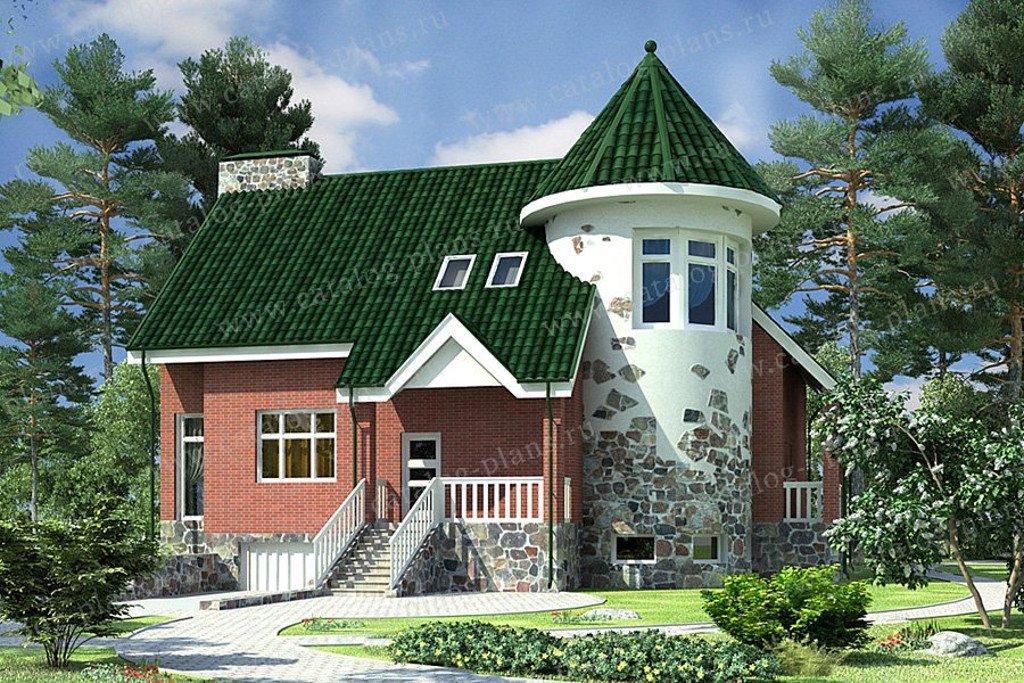 Проект жилой дом #47-47 материал - кирпич, стиль средневековый