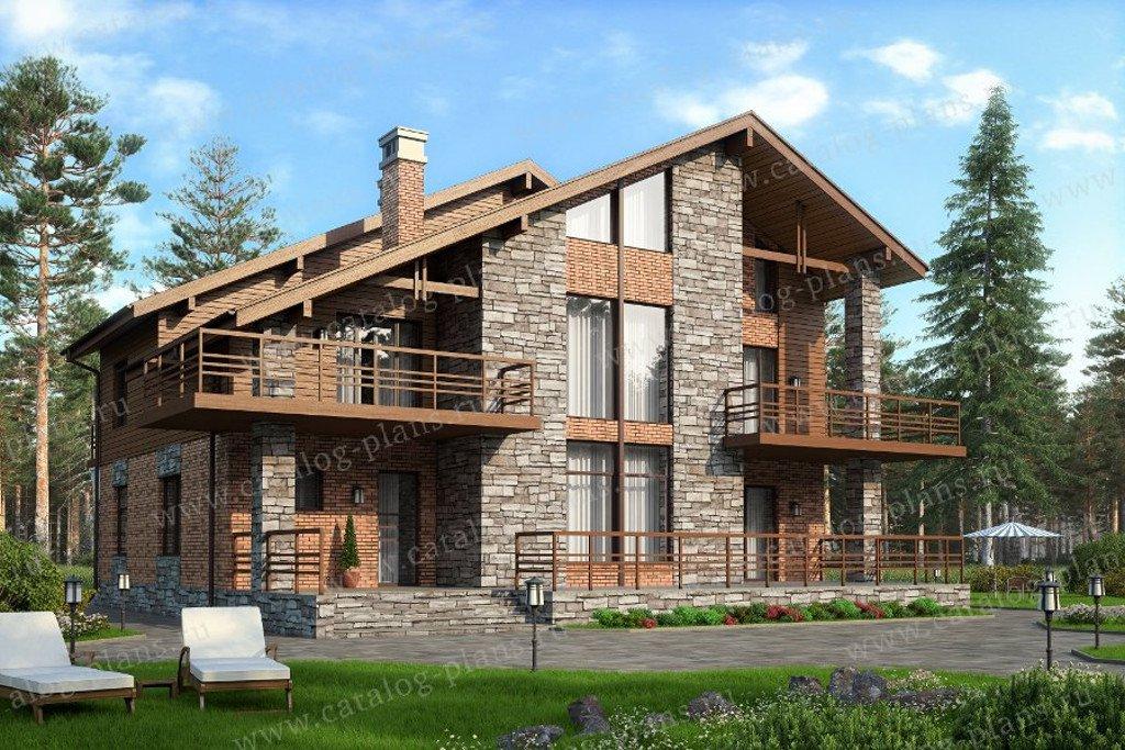 Проект двухэтажного кирпичного дома с мансардой № 40-09L в скандинавском стиле