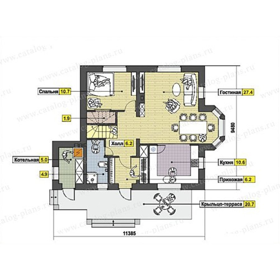 План 1-этажа проекта 47-52