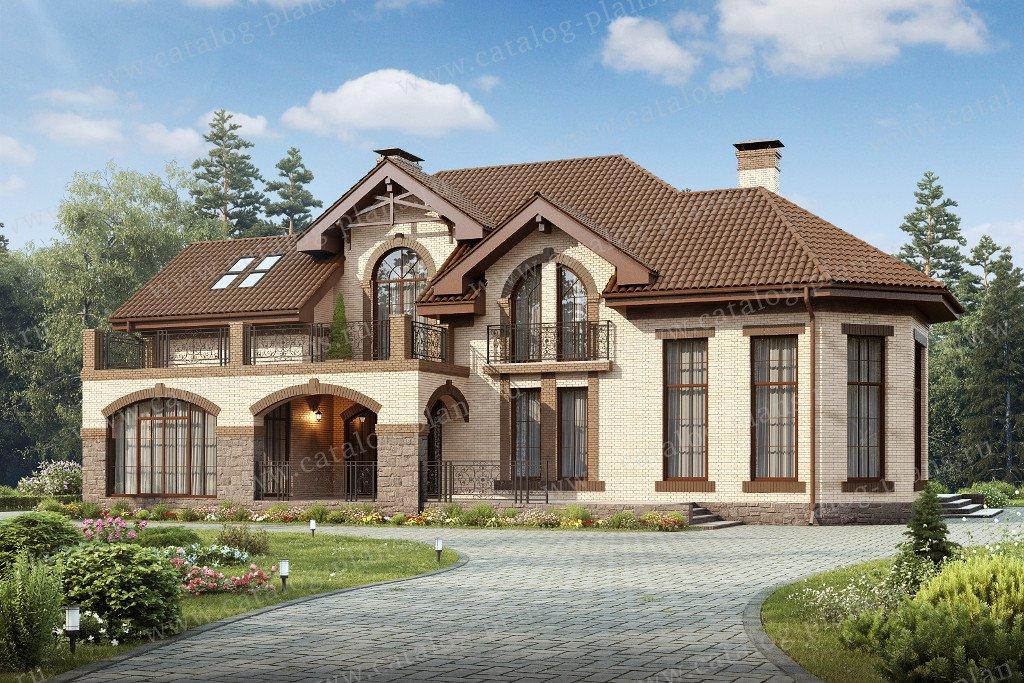 Проект жилой дом #47-38 материал - кирпич, стиль средиземный