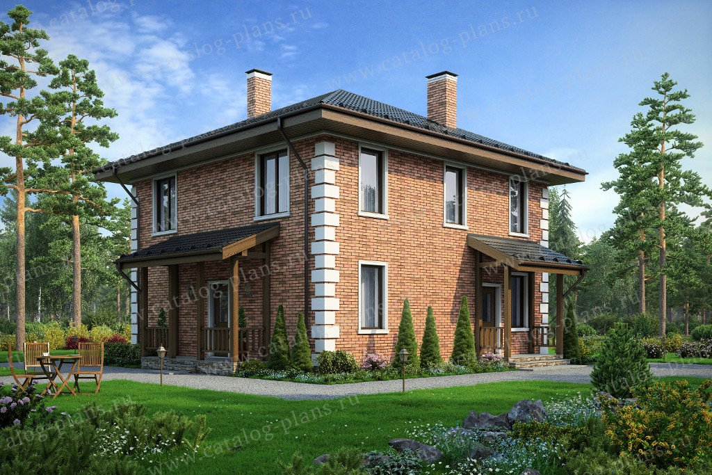 Проект двухэтажного кирпичного дома № 40-04L в европейском стиле