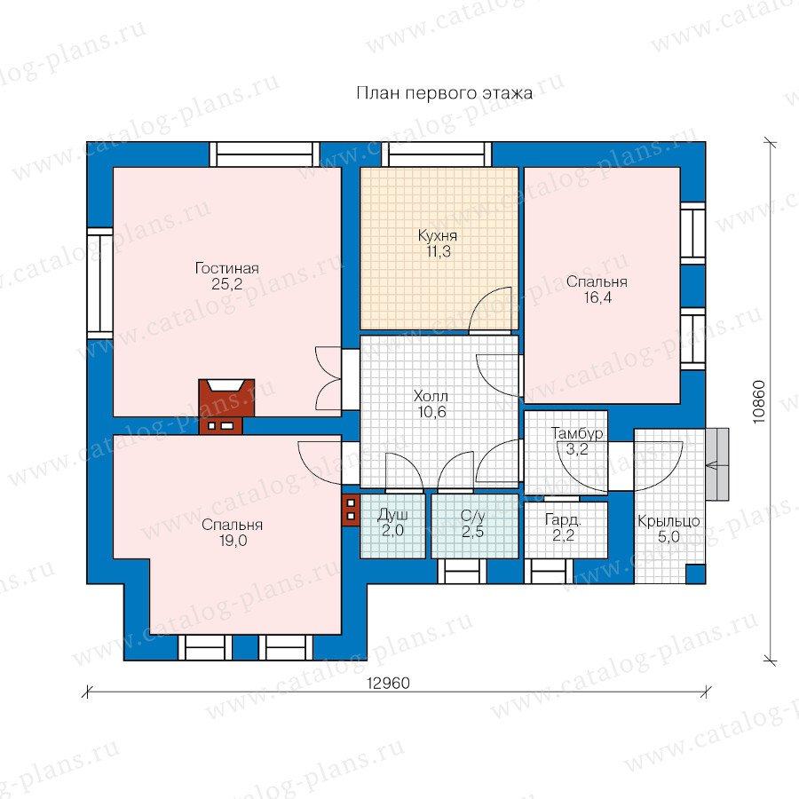 План 1-этажа проекта 47-43