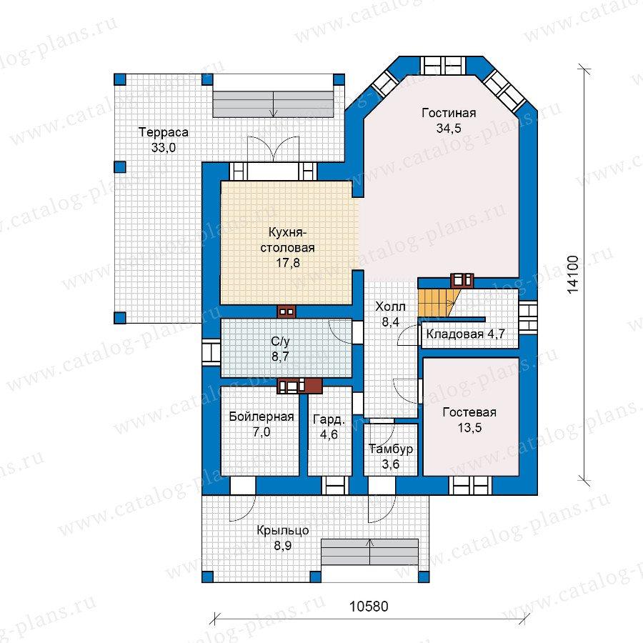 План 1-этажа проекта 40-13