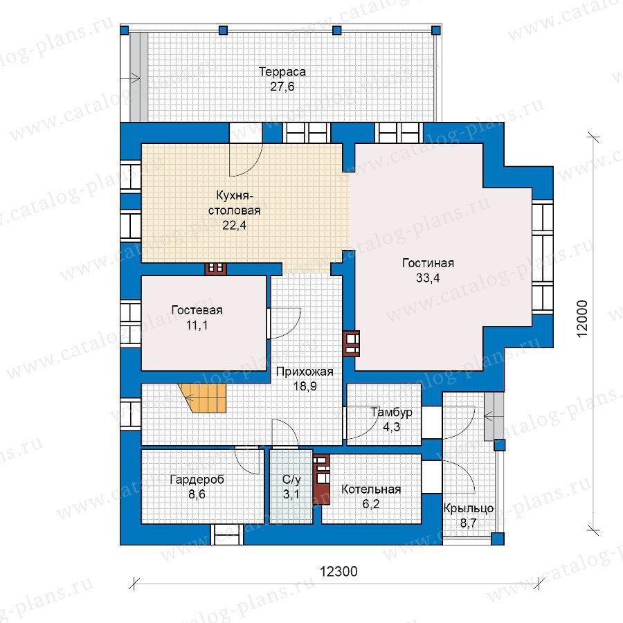Проект двухэтажного кирпичного дома 40-17 в современном стил.