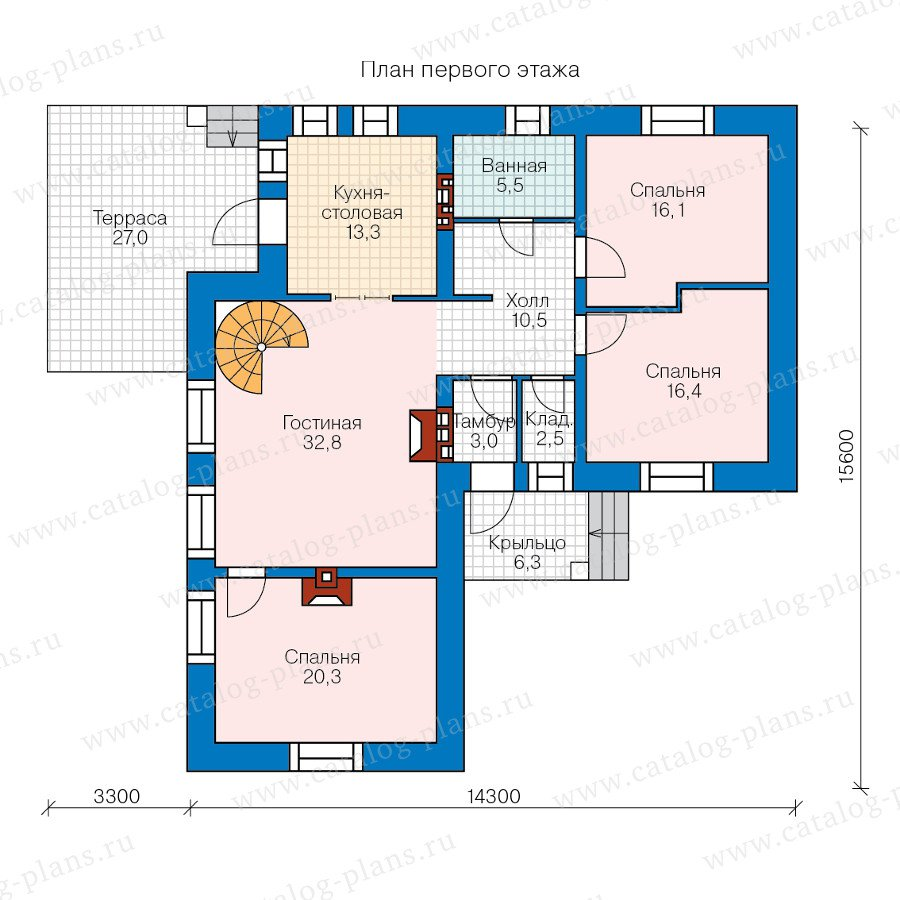 План 1-этажа проекта 47-41
