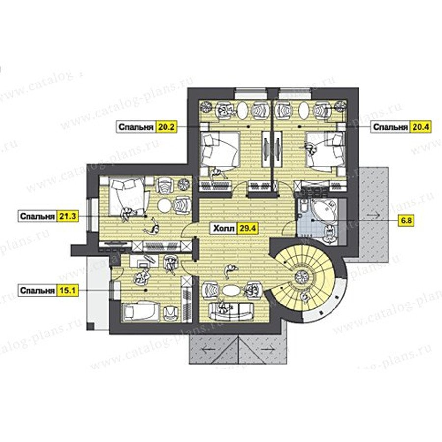 План 3-этажа проекта 47-47
