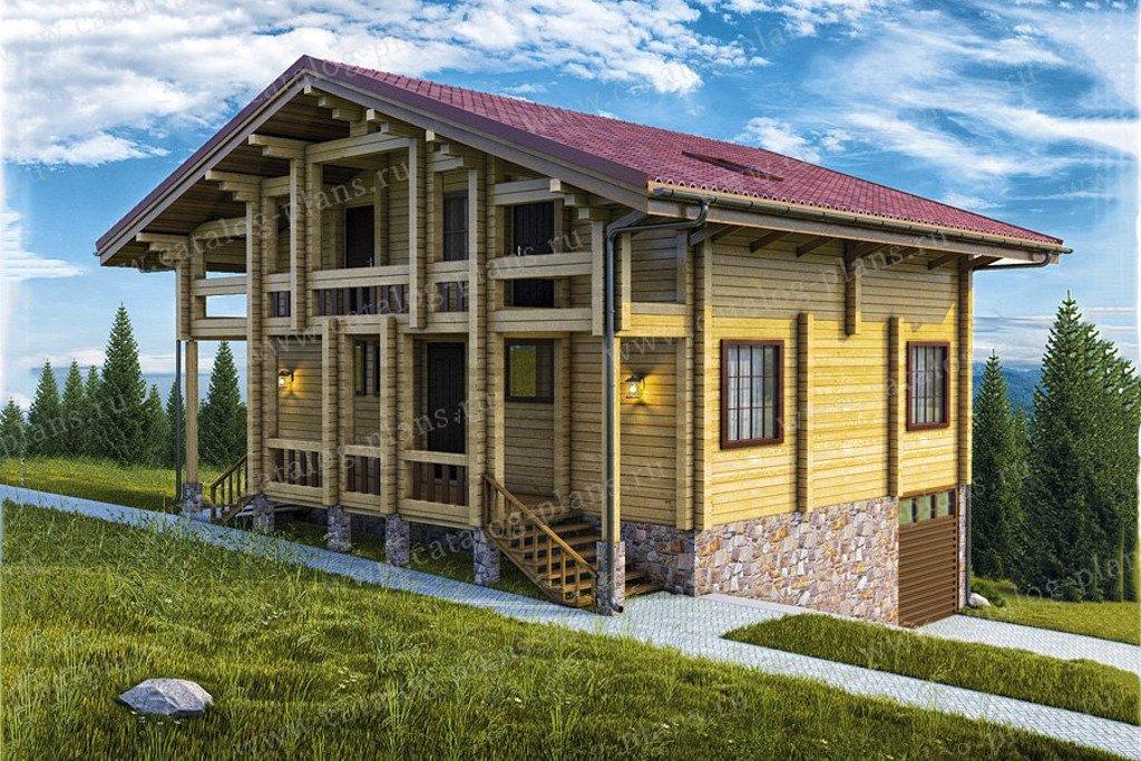 Проект жилой дом #13-37 материал - дерево, стиль шале