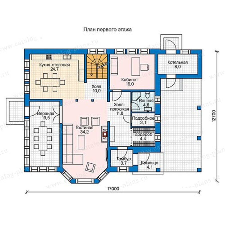 План 1-этажа проекта 70-57