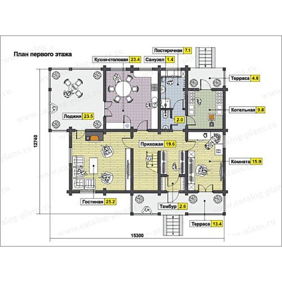План 1-этажа проекта 13-21
