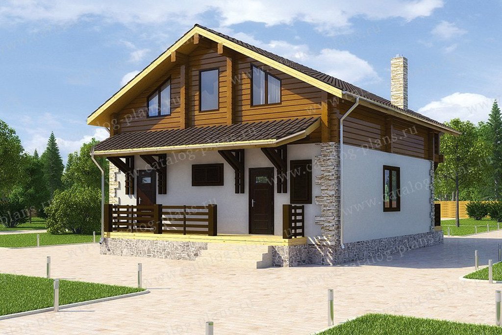 Проект жилой дом #13-39 материал - дерево, стиль норвежский