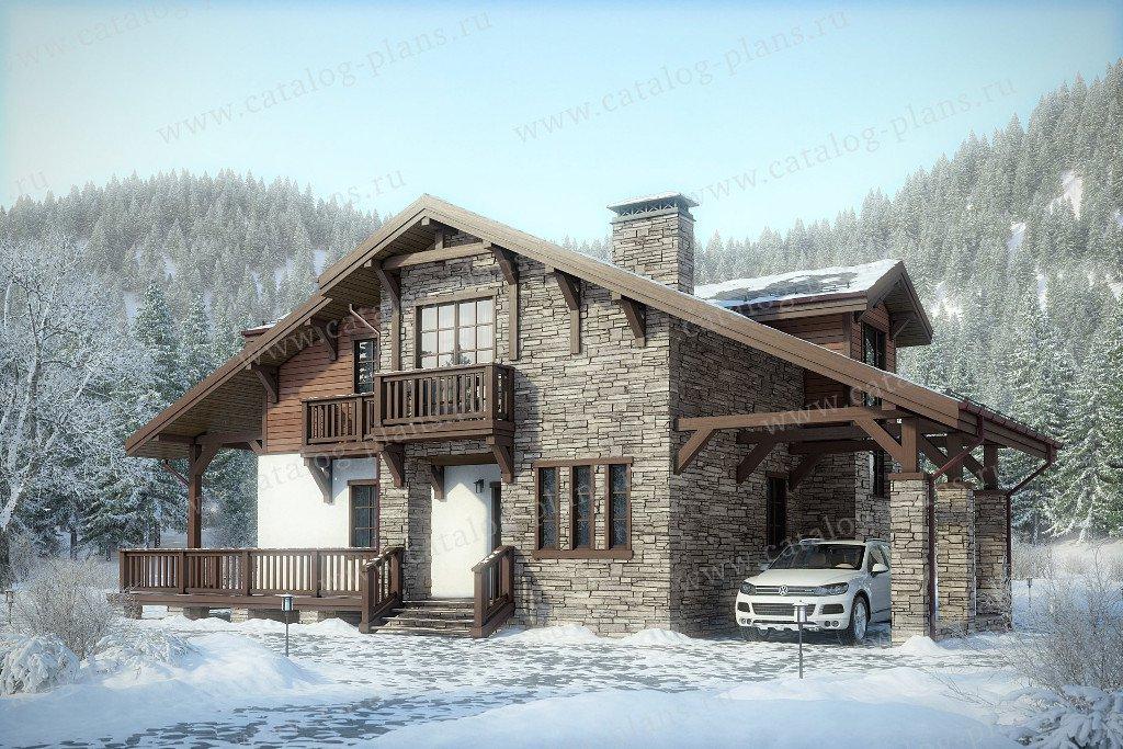 Проект жилой дом #47-54 материал - кирпич, стиль шале