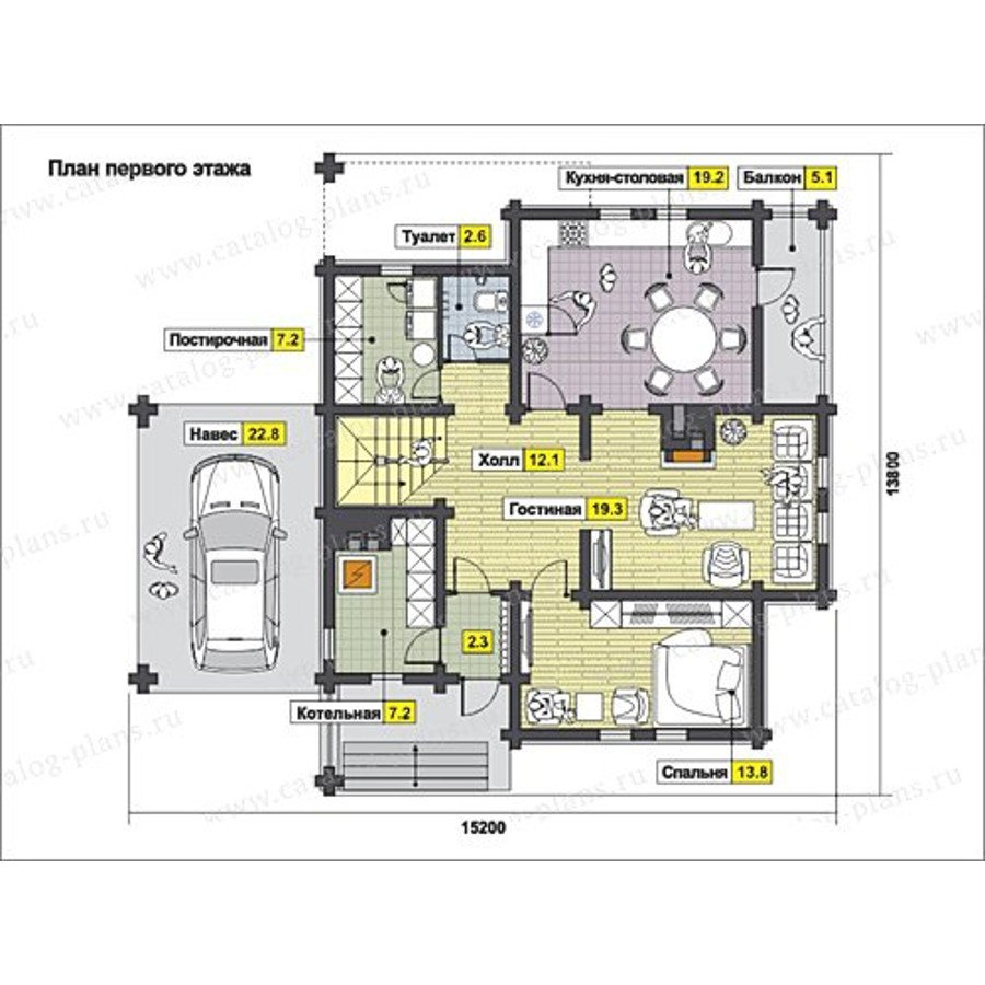 План 1-этажа проекта 13-23