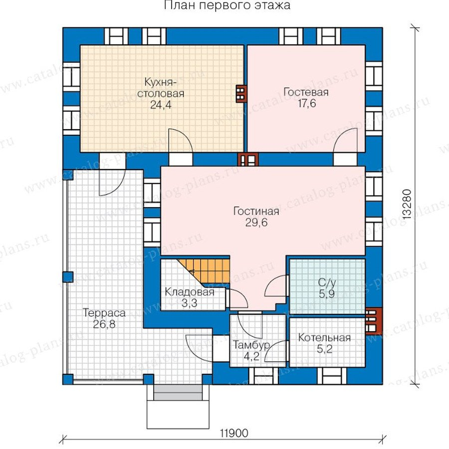 План 1-этажа проекта 48-20BG