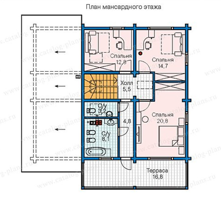 План 2-этажа проекта 13-34