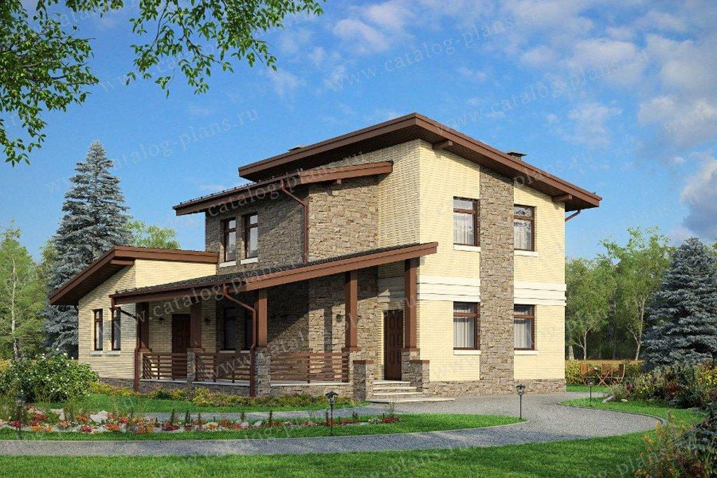 Проект жилой дом #48-20BG материал - газобетон, стиль современный