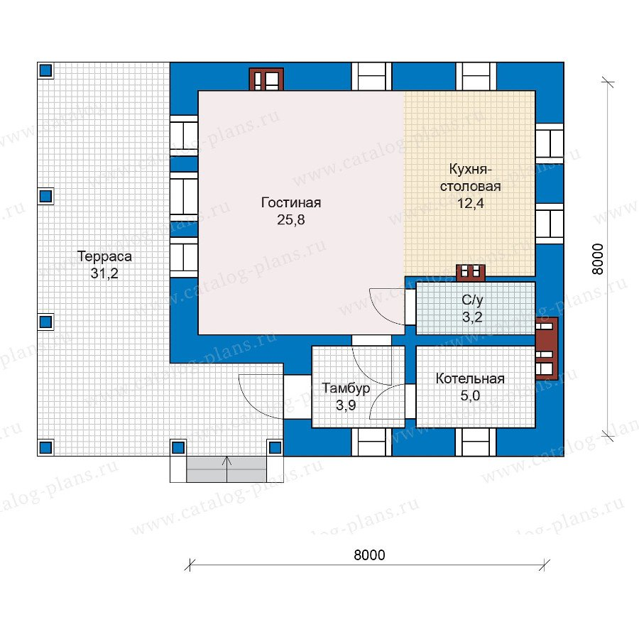 План 1-этажа проекта 48-19G