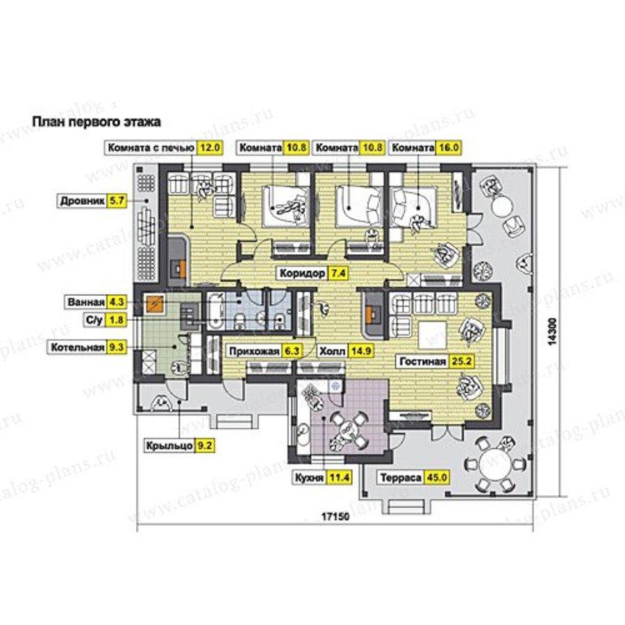План 1-этажа проекта 13-20