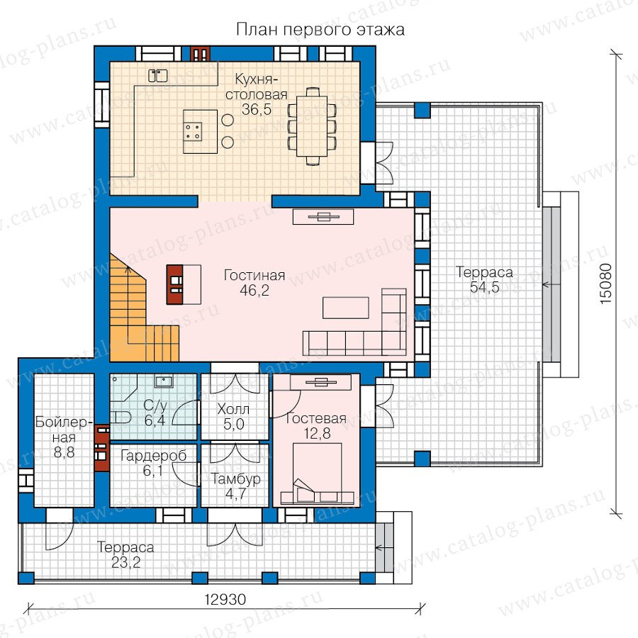 План 1-этажа проекта 40-48