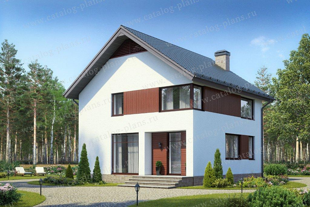 Проект двухэтажного дома из газобетона № 58-60 в современном стиле
