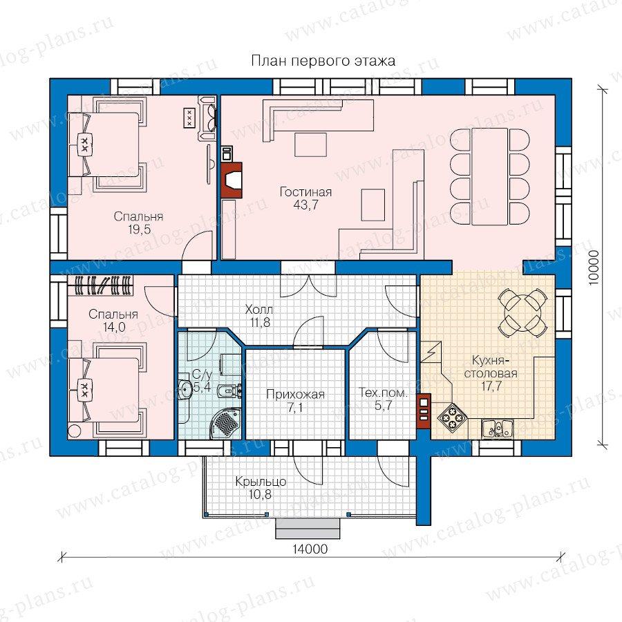План 1-этажа проекта 60-80
